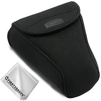 First2savvv Neoprene Camera Case Bag for Nikon D7500 D7200 D7100 D7000 D750  D500 D90 D80 D70 with 18-105 18-135 18-140 18-200 mm Lens + Cleaning cloth