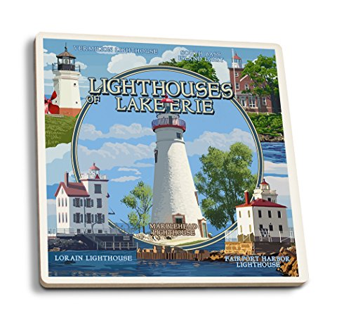 Ohio - The Lighthouses of Lake Erie (Set of 4 Ceramic Coasters - Cork-Backed, Absorbent)