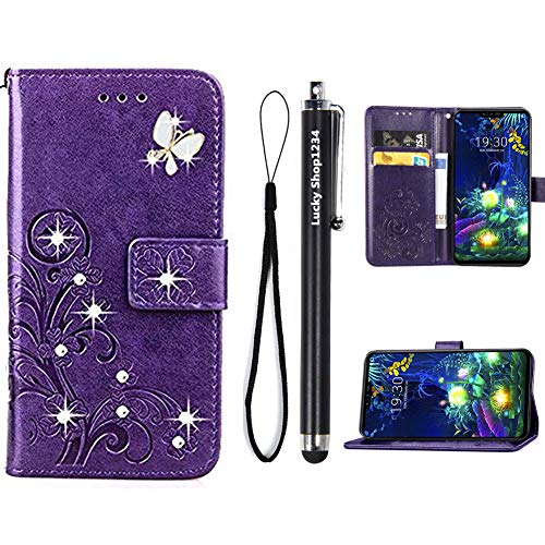 ZTE ZMAX Pro Case,ZTE Carry Z981 Cases,Fashion Handmade 3D Bling Diamond PU Leather Stand Flip Case Cover With Card Holder Folio Wallet Case for ZTE ZMAX Pro / Carry Z981 (Purple)