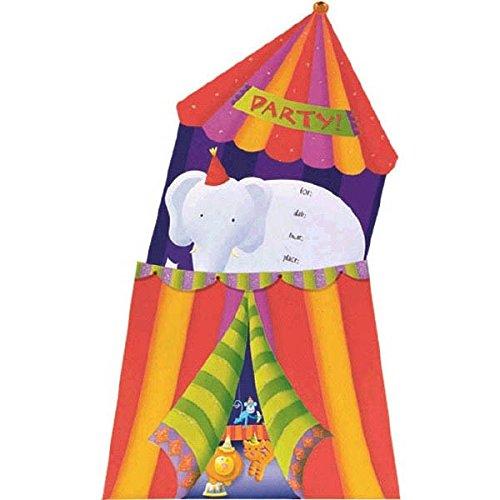 amscan Jumbo Circus Party Invitation Card (8 Piece), Multicolor, 6