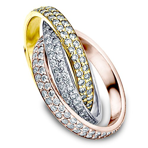 14K Tri-Color Rolling Eternity Ring (3.0 cttw, H-I Color, I1-I2 Clarity) Size (Band Tri Color Rolling Ring)