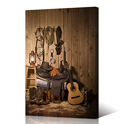 VVOVV Wall Decor American Western Cowboy Still Life on Rustic Wood Wall Art Canvas Giclee Print Hat Vintage Rope Leather Boots Guitar Lantern Pictures Artwork 24x36