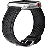 V-Moro Compatible Apple Watch Bands 42mm Women Men, [Italian Vintage Series] Premium Perforated Leather Bands iWatch Wrist Strap Replacement for Apple Watch Series 3 Series 2(Single Tour Black, 42mm)