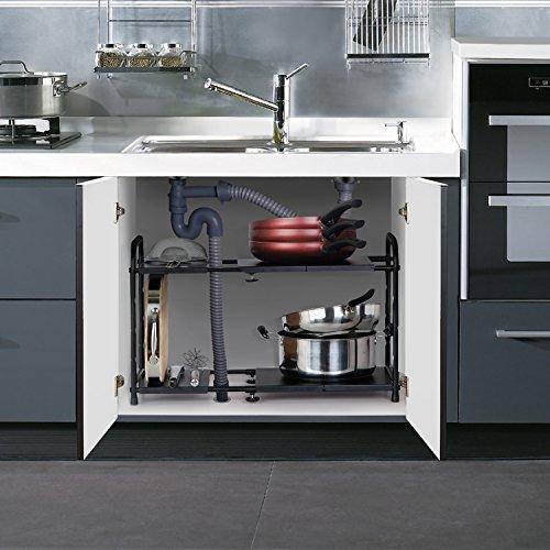 Black Kitchen Sink Malaysia: Lifewit Adjustable Under Sink Organizer, 2-Tier Expandable