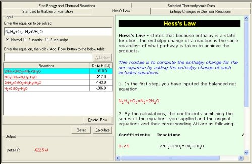 Thermochemistry and Thermodynamics Module - Downloadable SoftChemistry Education Software