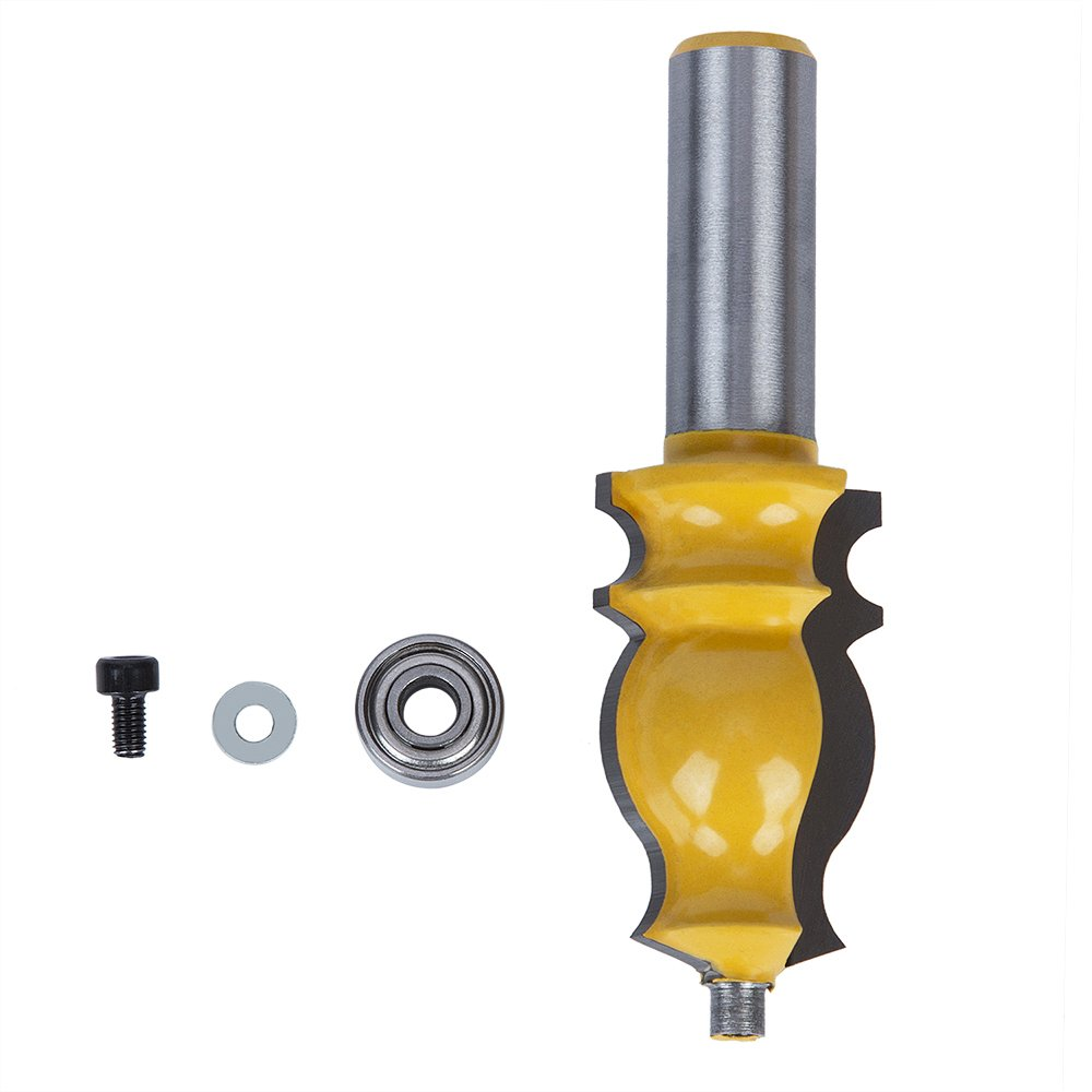 """Migiwata French Traditional Crown Molding Router Bit 1/"""" Dia x 1-3//4/"""" H x 1//2 Shank Double Flutes and End Ball Bearing Guide Used on CNC and Routers for Crowing Moldings Window and Door Castings"""