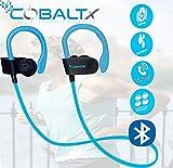 COBALTX ZERO GRAVITY Sweat Resistant Super Lightweight Bluetooth Wireless Premium Stereo Headsets Sports Earphones 5 Hours of Music 30 Foot Range PREMIUM SOUND for Gym Running Workout (BLUE)
