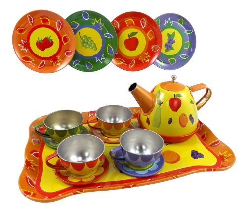 Liberty Imports Colorful Fruit Tin Tea Party Set for Kids - Metal Teapot and Cups Kitchen Playset (Liberty Set)
