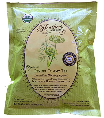 - Heather's Tummy Teas Organic Fennel Tea for IBS, 16 Ounce Loose Tea Pouch