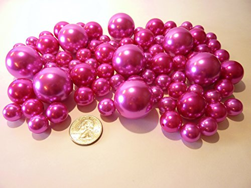 File Hot (80 All Hot Pink Pearls - Jumbo and Assorted Sizes Vase Fillers for Decorating Centerpieces - To Float the Pearls - Order with Transparent Water Gels)
