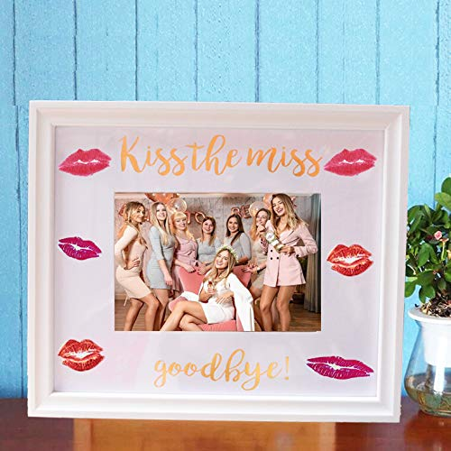 Kiss The Miss Goodbye Picture Frame Bachelorette Party Bridal Shower Keepsafe Gifts for Bride to be Guest Book (White Frame) ()