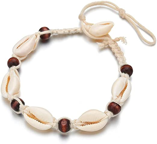 set of 2 adjustable cotton cowrie shell anklet beach boho surf