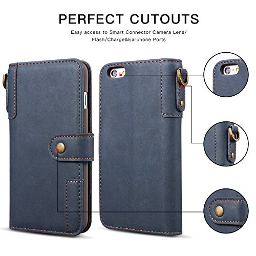 Slots Leather Folio with Free Book High Quality Cover Card Closure Screen For Case Magnetic Apple Feature Case idatog Case iPhone HD Kickstand iPhone iPhone 6S Flip Protector Blue Dark Wallet PU iPh and 6 6S ROXqxSa