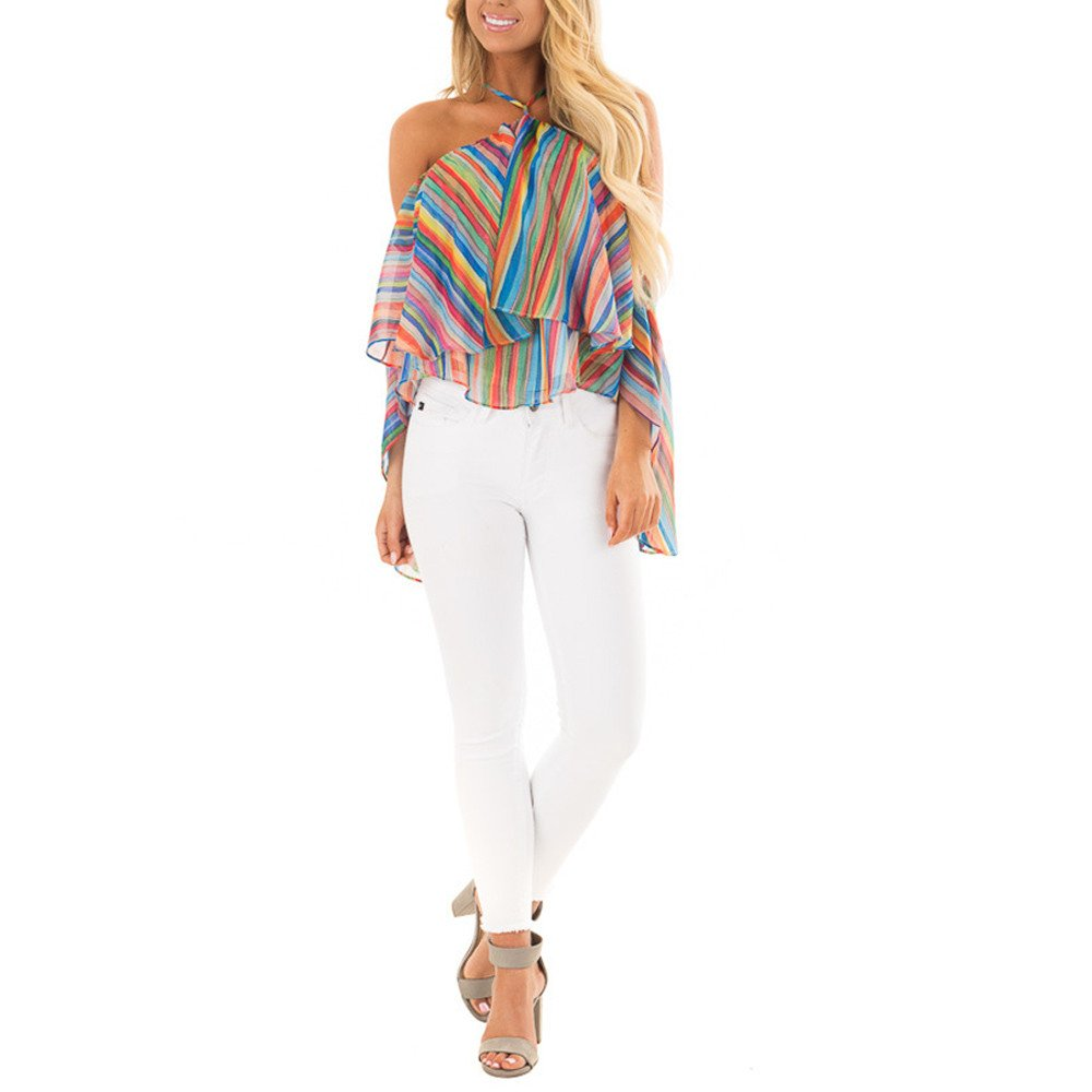 Women T Shirt,Off The Sholuder ANJUNIE Rainbow Printed Stripe Blouse Casual Tops