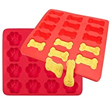 Dog Paws & Bones Silicone Baking Molds,Elstey 2 Pack Large Silicone Dog Treats Baking Molds for Kids, Pets, Dog-lovers Cookie Cutter, - Food Grade Material