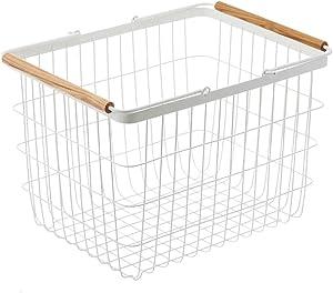 Yamazaki Laundry Basket Wooden Handles, Medium, White