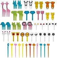 AIEX 52 Pcs Animal Food Picks Food-Grade Fork Picks for Kids Bento Box Decor Cute Mini Toothpicks Accessories