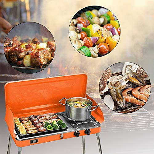 KOOLWOOM Portable Liquid Propane Grill,2 Burner Grill Stove Barbecue Grill Outdoor Cooking Camping Stove Stainless Steel Orange