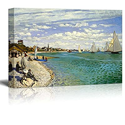 Pretty Artistry, Regatta at Sainte Adresse by Claude Monet Print Famous Painting Reproduction, Made With Top Quality