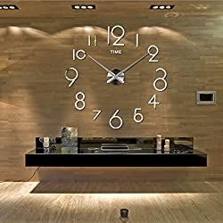 personality 3D Mirror Big wall clock DIY living room Wall clock large size bedroom Mute Pocket watch