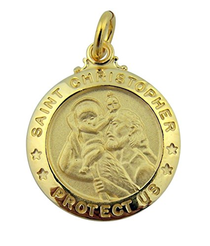 18K Gold Plate Over Sterling Silver Saint Christopher Protect Us Medal  3 4 Inch