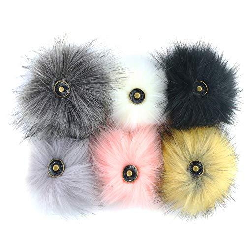 Heatoe 6Pcs Faux Fox Hair Ball, Detachable Knit Cap with Buttons & Clothing & Fur Accessories, DIY Plush Ball (10cm)