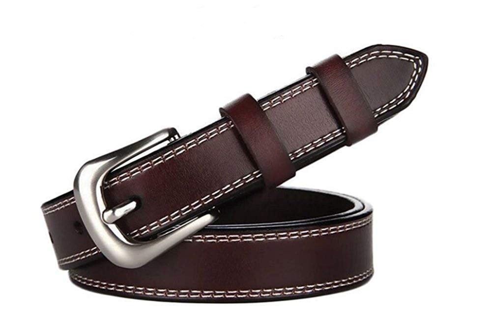 WHXYAA Women's belt ladies belt Women's cowhide leather belt  The first layer of leather  0.96 Wide (color   Brown)