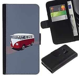 KLONGSHOP / Tirón de la caja Cartera de cuero con ranuras para tarjetas - Bus Retro Vintage Minivan Red White Drawing - Samsung Galaxy S3 MINI NOT REGULAR! I8190 I8190N