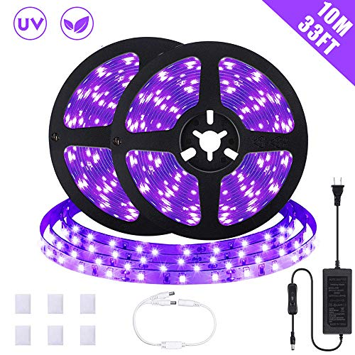 SOLMORE Black Light Strip, 33ft/10m UV Blacklight LED Strip, 600 Units UV Lamp Beads, 12V Flexible Black Lights Purple Light Non-Waterproof for Indoor Dance Party Stage Paint Bedroom Halloween