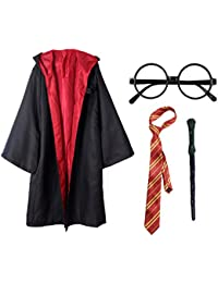 Kids 4Pcs Magical Wizard Costume Hooded Robe Role Play Dress up Set Cosplay Costumes Accessories for Halloween and Christmas