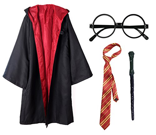 Kids 4Pcs Magical Wizard Costume Hooded Robe Role