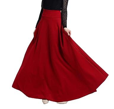 XNN Falda Larga Plisada de Cintura Alta para Mujer, Estilo Vintage ...