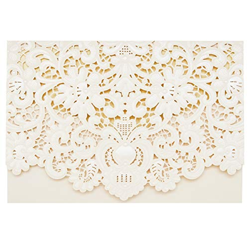 24-Pack Wedding Invitation Cards - Laser Cut Floral Design Invitation Pockets for Bridal Showers, Engagement Parties, Includes Covers, Blank Inserts, Envelopes, Ivory, 5 x 7.25 Inches