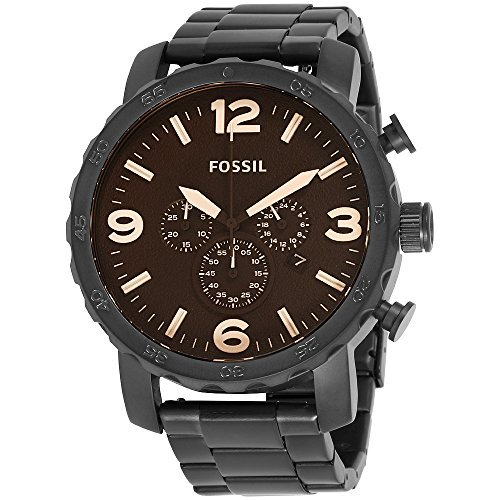 Fossil Nate Black Dial Stainless Steel Men's Watch JR1356