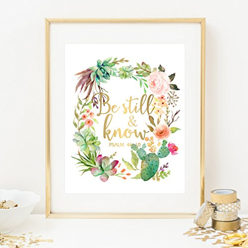 Eleville 8X10 Be still and know Real Gold Foil and Floral Watercolor Art Print (Unframed) Bible verse art Nursery decor wall art Scripture art Home Motivational Birthday Wedding Holiday Gift WG082