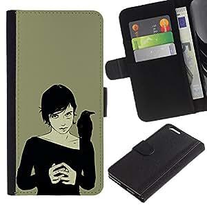 """Apple (5.5 inches!!!) iPhone 6+ Plus , la tarjeta de Crédito Slots PU Funda de cuero Monedero caso cubierta de piel ("""" Crown Woman Black Witch Art Drawing Magic"""")"""
