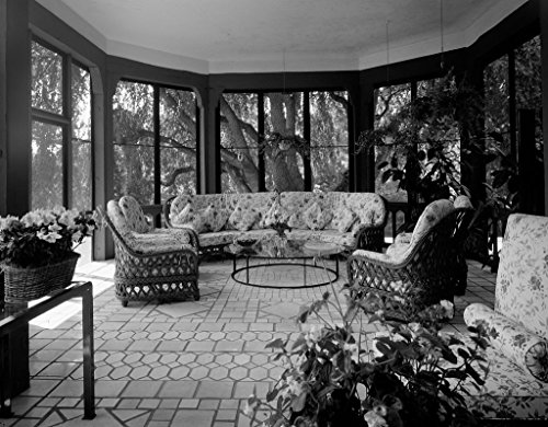 Vintography 18 x 24 B&W Photo of The sunroom at The Residence of The Ambassador of Italy, Washington, D.C. - Highsmith 71a