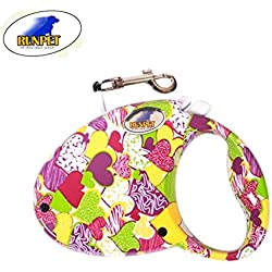 UNIQUE & TRENDY Retractable Dog Leash, 9.8ft Dog Walking Leash for Medium Small Dog Up to 50lbs, Break & Lock System, Reflective Ribbon Cord (heart)