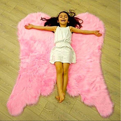 Super Soft Angel Wings Faux Fur Rug for Girls Room Faux Sheepskin Rug Gift Idea for Kid's Room,Childrens Bedroom, Baby,Nursery, Living Room (Light Pink, 31 x 40 inch)