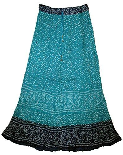 Indian Cotton Long Skirt Size XS S M L XL Waist Maxi USA Broomstick Women Soft (Blue)