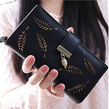 Money coming shop 2017 Women Wallets Leaf Bifold Wallet Leather Clutch Women Card Holder Purse Lady
