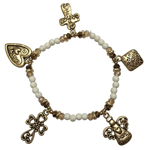 Gypsy Jewels Matte Gold Tone Dangle Charm Stone Beaded Stretch Bracelet - Angel Cross Heart (Ivory Stone)
