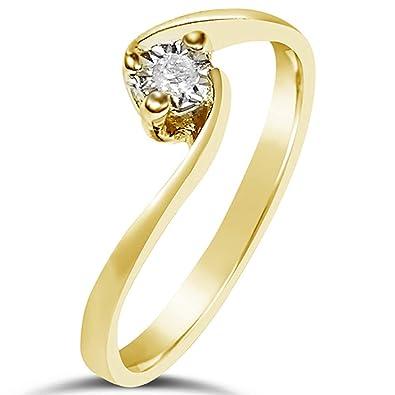 5e5066a5fe4b Anillo Mujer Compromiso Oro y Diamantes - Oro Amarillo 9 Quilates 375 ♥  Diamantes 0.02 Quilates  Amazon.es  Joyería