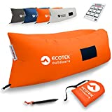 Inflatable Air Hammock Lounge with Premium Ripstop Fabric, Three Elastic Pockets, Aluminum Alloy Stake, Carry Bag, and One Year Warranty - by EcoTek Outdoors (Orange)
