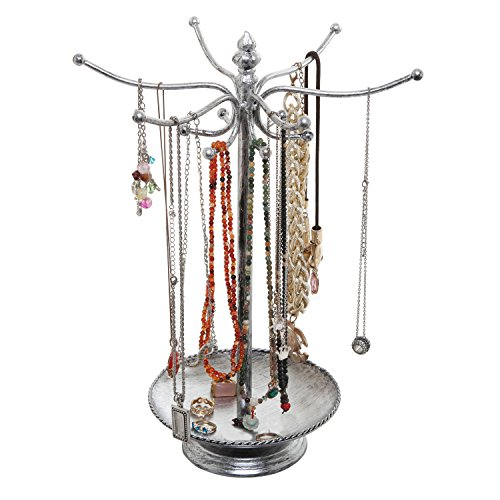 le Silver Metal Bracelet Necklace Jewelry Organizer Tree Hooks Rack Stand w/Ring Dish Tray ()
