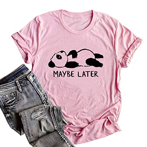 - FIZUOXVE Women's Cute Panda Maybe Later Letter Printed Short Sleeve Casual T-Shirt Top Tee (Pink,S)