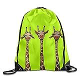 CACAKAI Hip Hop Drawstring Backpack Cute Giraffe Three Art Design Print Drawstring Backpack Rucksack Shoulder Bags Gym Bag