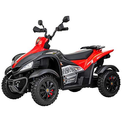 Uenjoy Kids 4 Wheeler 12V ATV Electric Ride On Quad Motorized Cars, 2 Speeds,LED Lights, Music, Horn, Wheels Suspension, Red