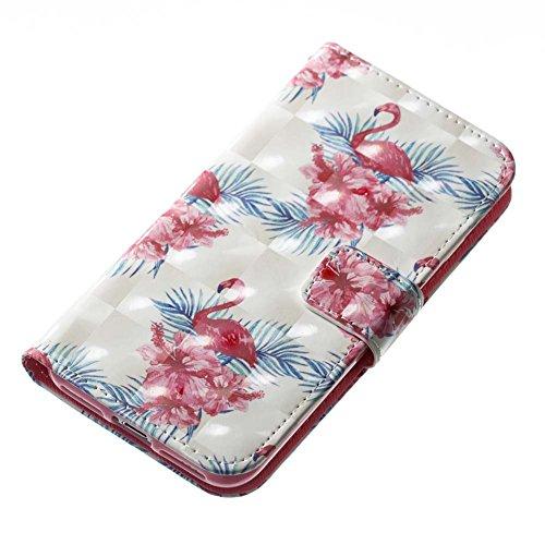 iPhone 8 Leder Hülle,iPhone 7 Bookstyle Ledertasche, Aeeque Luxuriös 3D Glitzer Bling [Cute Tier Milchkuh Muster] Kartenfächer Standfunktion Brieftasche Handytasche für iPhone 7 / 8 (4.7) Schutzhülle  Rot Blumen Flamingos