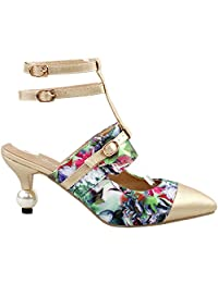 Show Story Amazing Floral Print ankle Straps Pointed Toe Exquisite Pearl Heel Dress Pump,LF60403